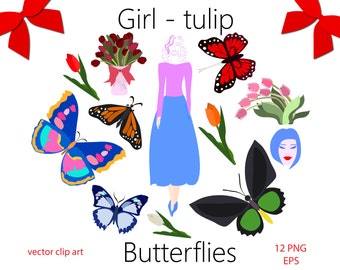 70% OFF SALE Butterfly with Tulips Clip Art, Spring Clip Art, Summer clip art, Beauty Girls, Spring Girls, Butterflies vector clipart