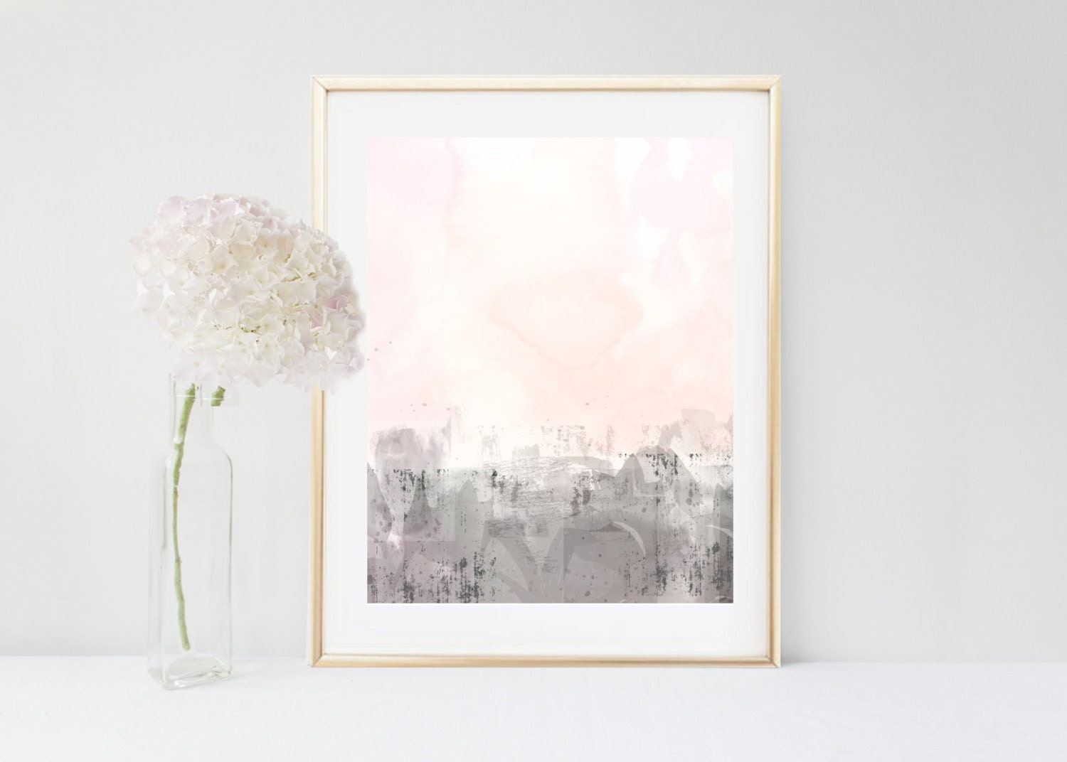 Abstract art printable art pink grey wall art instant for Pink wall art