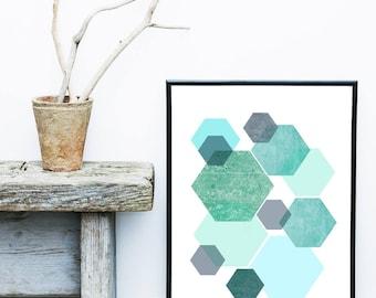 Hexagon Print, Geometric Wall Art, Blue Abstract Art, Scandinavian Design,  Giclee print, Home Decor, Wall Decor