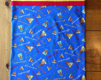 Handmade childrens pillowcase featuring licensed Berenstain Bears fabric, pillow sham, decorative pillowcase