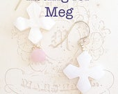Mother of Pearl Earrings | Pink Opal Earrings | Gold Vermeil | 24k Gold Beads | Pale Pink Earrings | Bride Jewelry | Wedding Accessories |