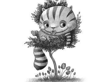 "8X10"" Baby Cheshire Cat,  Black and whit Print, Signed by the artist, Will Terry"