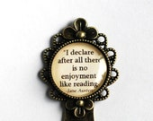 "Jane Austen quote bookmark, ""I declare after all there is no enjoyment like reading"", Pride and Prejudice vintage style  bookmark"