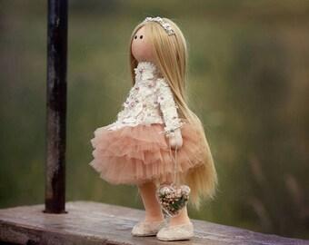 Fabric doll Textile doll Baby Fashion doll Decor Toy Handmade  Art doll Gift doll Soft doll Tilda doll Toys Tilda Style Dollъ