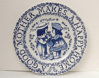 A Good Mother Blue and White Plate 1974, Royal Crownford Plate by Norma Sherman