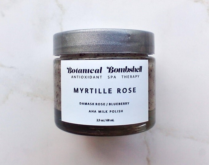 Myrtille Rose Blueberry Hibiscus Rose AHA Milk Polish /Sugar Scrub/Microdermabrasion/Brightening/Lotion Exfoliant 2.3 oz / 68 mL