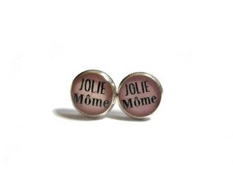 EARRINGS FOR KIDS- jolie mome quote studs- pink- Children's Earrings - flower girl - kids jewelry - little girl earrings