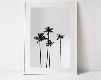 Palm Tree Print-Tropical Print-Palm Tree Photo, Tropical Art PRINTABLE Art Photography DIGITAL DOWNLOAD Black and White Palm Tree Art  24x36