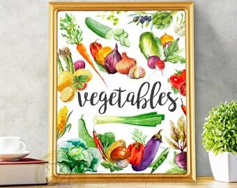 Vegetable Print, Vegetable Art, Vegetable Wall Decor, Vegetable Printable, Vegetable Sign, Kitchen Print, Watercolor Vegetable Print