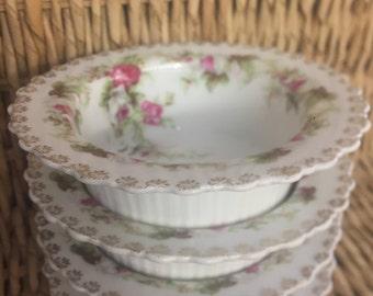 Porcelain Delicate Rose Flower Bowls Set of 4