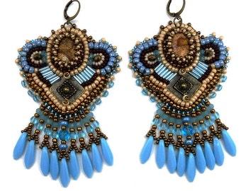 Embroidered ethnic fringed payase Jasper, beige Brown Blue bronze earrings