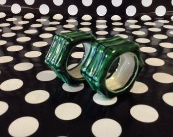 Bamboo Forest~Napkin Ring~Green Bamboo~Set of 2~Ceramic