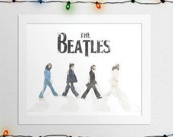 THE BEATLES PRINT, The Beatles Abbey Road, John Lennon, Paul McCartney, George Harrison, Ringo Starr, Watercolor, Wall Art, Digital Print
