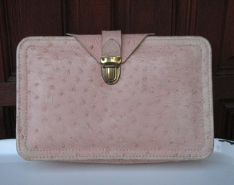 Vintage Pink Cosmetic Case in Ostrich Pattern, Vintage Make Up Case, Vintage Luggage, Travel Case