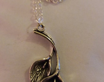 Sterling Silver Cala Lily Necklace, Cala Lily Pendant Necklace Boho Chic