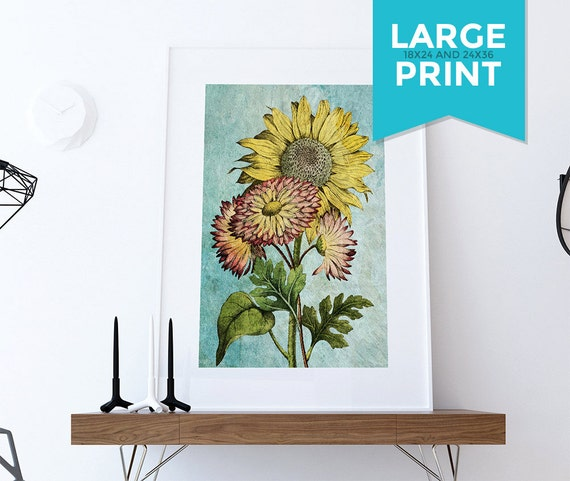 Vintage Sunflower Wall Decor : Sunflowers vintage home decor wall art shabby chic gift