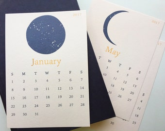 Moon Phases 2017 Desk Calendar, Gift for Her Moon Calendar, Stocking Stuffer 2017 Calendar, 12 Month Calendar, Gifts Under 25 Christmas Gift