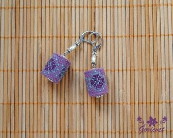 Purple earrings boho chic earrings drop earrings fabric jewelry cross stitch embroidery jewelry gift for women gift for girlfriend wife gift