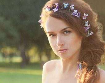 Violet Flower Wreath, Flower Crown, Violets flower, Wedding Hair Accessories, Weddding Flowers, Accessories for wedding, Violet wedding