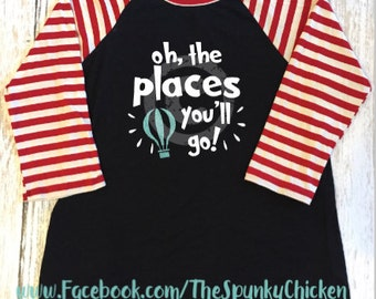 Adult Teacher Seuss Oh the Places You'll GoBurnout Raglan Shirt
