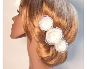 3 hair flowers of ivory bridal wedding hair jewelry cream white bridal hair accessories flower hair flower wedding