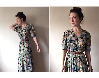 Floral Maxi Dress | 90s maxi dress | vintage 1990s floral dress