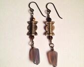 Six of Wands Tiger Eye Gray Agate Gemstone Brass Trade Bead Niobium Earrings | Handmade Nickel Free Earrings | Witch Earrings Tarot Jewelry
