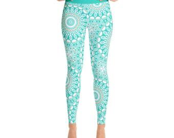 Print Yoga Pants - Aqua Leggings, Turquoise Leggings, Blue and White Printed Yoga Leggings, Stretchy Pants, Womens Yoga Tights