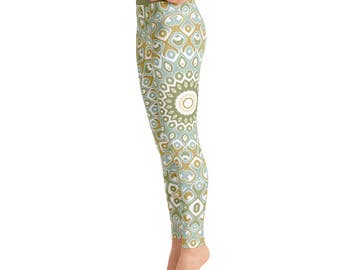 Printed Yoga Tights - Patterned Tights, Yoga Pants Green, Mandala Leggings, Mandala Pants, Nature Leggings, Printed Leggings