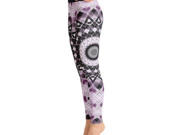 Black and Purple Leggings - Mandala Print Tights, Funky Leggings, Festival Tights, Black and Purple Funky Pants