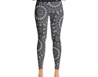 Black Yoga Pants - Awesome Mandala Yoga Leggings Gifts, Cool Monochrome Leggings, Black and White Festival Leggings, Meditation Pants