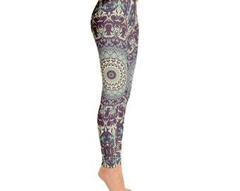 Mid Rise Fun and Funky Leggings - Printed Leggings, Mandala Yoga Leggings, Yoga Tights, Yoga Pants, Womens Stretch Pants