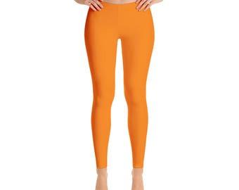 Orange Leggings - Mid Rise Waist Yoga Pants for Women, Yoga Bottoms