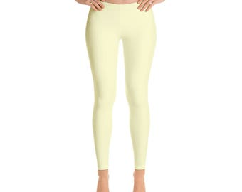 Cream Leggings - Womens Yoga Clothes, Yoga Leggings, Workout Yoga Pants