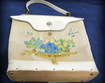 Vintage Handbag with Wooden Bottom and Floral Design