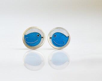 Fine silver, Cloisonne enamel Earrings - Lovely birds