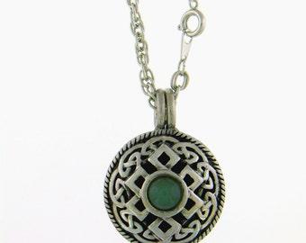Celtic Knot & Jade Stone Aromatherapy Diffuser Pendant, Celtic Jewelry, Essential Oil Diffuser Necklace Pendant