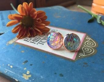 stunning reflective rainbow mermaid earrings, gift for her