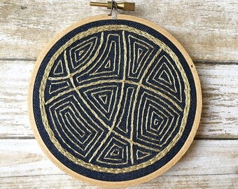 navy and gold embroidery hoop art/navy and gold decor/abstract embroidery/modern embroidered art/abstract wall art/geometric wall art