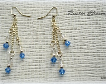 Light Blue and Clear Crystal Dangle, Fish Hook Earrings