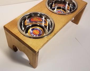 Raised Dog Feeder Golden Oak Stain-1 QT Bowls-Dog Bowl Stand-Raised Dog Bowl Feeder-Stainless Steel Elevated Dog Food Bowl-Raised Feeder