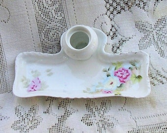 Inkwell Pen Tray China Pink Flowers