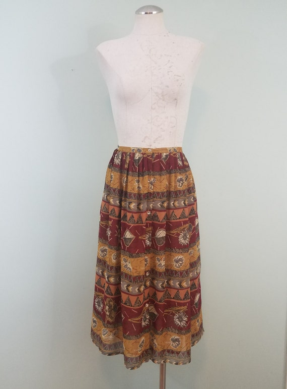 1980s Autumnal Skirt / Vintage Ann Taylor / Chiffon, Double Layered, Button Front / Gold, Burgundy, Olive / Modern Size Extra Small XS