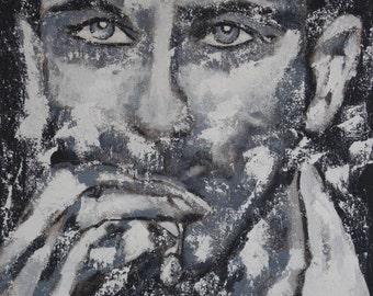 """Portrait XXL black & white 39"""" x 59"""" inch big size xxl canvas art acrylics  original unique texture"""