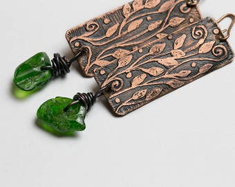 Copper earrings Green earrings Organic jewelry Rustic earrings Leaf earring Nature jewelry Earthy jewelry Green stone Rustic copper earrings
