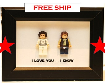 Lego I Love You I Know Framed Han & Leia Star Wars Mini Figures I Love You I Know Minifigures Wedding Anniversary Personalized UK USA Canada