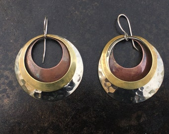 Mixed metal layered hoop earrings. Hand made everyday statement earrings.