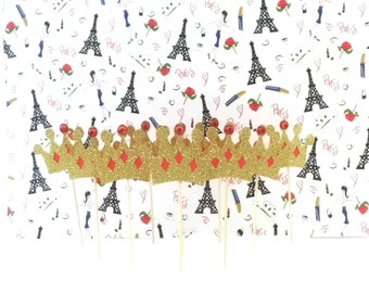 Red and Gold Glitter Crown Cupcake Toppers, Birthday Party Decoration, Appetizer Picks, Dessert-Cake Picks, Set of 12, TwoSistersGreetings