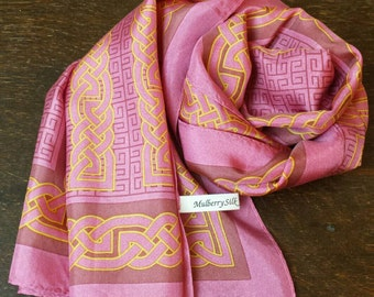 MULBERY SILK scarf, oriental shawl with ornament in rose and yelow