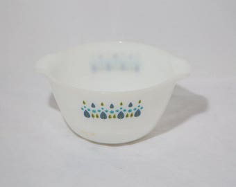 Vintage Milk Glass Nesting Mixing Bowl Blue and Green Floral Design